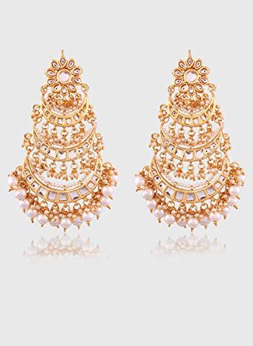 Accessher Kundan Jadau Chandbali Pearl Dangle & Drop Earrings for Women ()