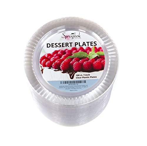 100 Disposable Clear Plastic Dessert Plates (7-inch) (7 Dessert)