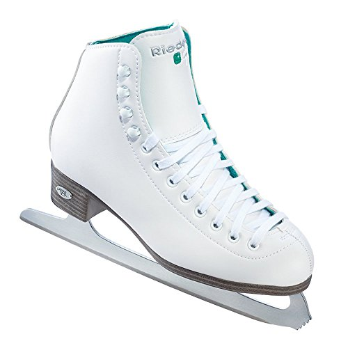 Leather Lined Girls Figure Skates - Riedell Skates - 10 Opal - Recreational Youth Ice Skates with Stainless Steel Spiral Blade | White | Size 3 Junior