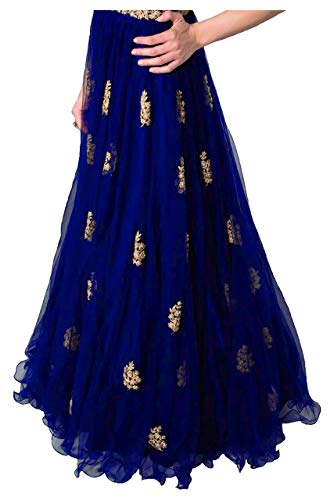 41CZoO2AeXL Varudi Fashion Multi Color Heavy Soft Net Fabric Embroidery Work Round Neck Sleevesless Long Semi Sticthed Gown For…