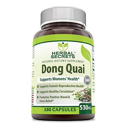 - Herbal Secrets Natural Dietary Supplement - Dong Quai 530 Milligrams 180 Capsules (Non-GMO) - Supports Women's Health* - Encourages Better Circulation, Promotes Positive Mood & Stress Relief*