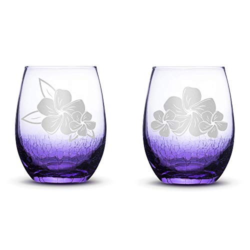 Set of 2, Plumeria Stemless Wine Glasses, Light Crackle Purple, Made in USA, Hand Etched Gifts, Sand Carved by Integrity Bottles
