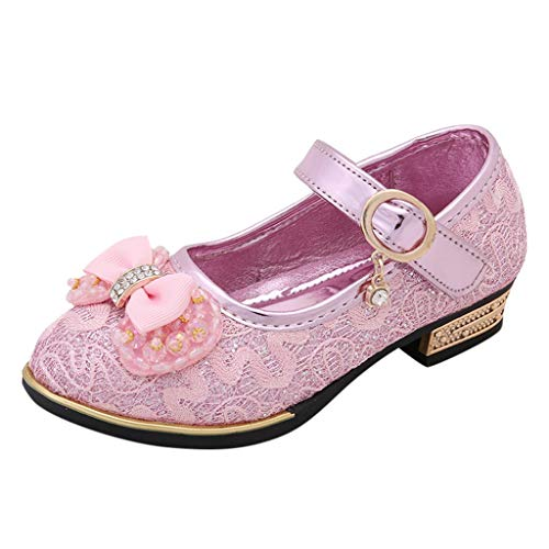 HYIRI Children's Infant Kids Girls Cute Bowknot Pearl Lace Crytal Single Princess Shoes Pink