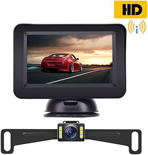 Amtifo Wireless Backup Camera with 4.3 Monitor Kit,HD Licence Plate Camera for Cars,SUVS,Minivans,Rear Front View Optional, Guide Lines Adjustment