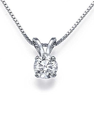 1/2 Ct Four Prong - 0.50ct D/SI1 4-Prong Solitaire Diamond Solitaire Pendant Necklace in 14k White Gold - Diamond Necklace White Gold for Women