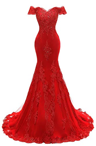 Scarisee Women's Mermaid Off Shoulder Evening Prom Dresses Lace Appliqued Beaded Formal Party Gowns Red Custom Size