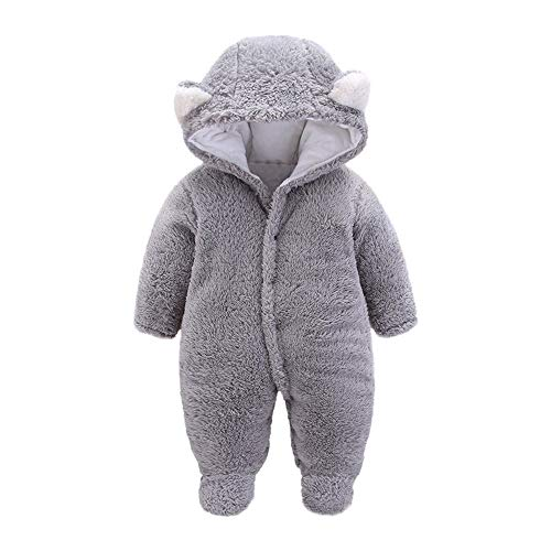 Autumn Winter Pajamas Warm Gray Clothes Hooded Romper Baby Outfits Hoodie Girls Rompers Solid Newborn Unisex Boys Tracksuits Jumper Clothes Ear for Jumpsuit Cartoon Velvet Anglewolf 6fqOw7p