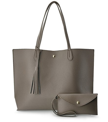 Minimalist Clean Cut Pebbled Faux Leather Tote Womens Shoulder Handbag (Mocha) ()