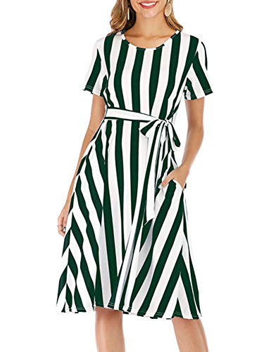 Cotton Dress for Women Petite A-Line Swing Bridesmaid Dresses Striped Green S ()