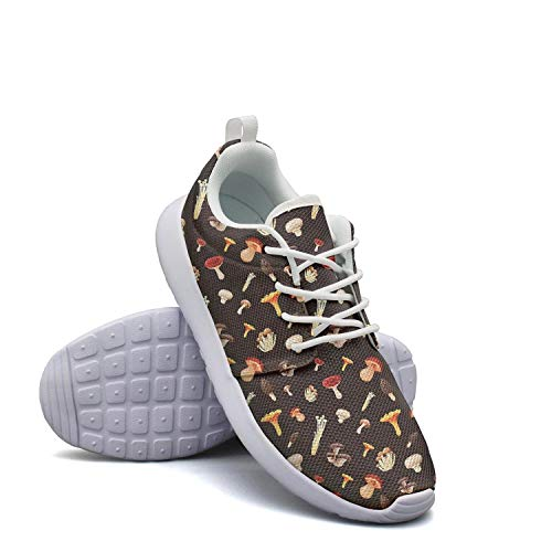 Heart Wolf All Kinds of Mushrooms Gym Shoes for Womens Slip on Skid-Proof Comfortable Walking Shoes