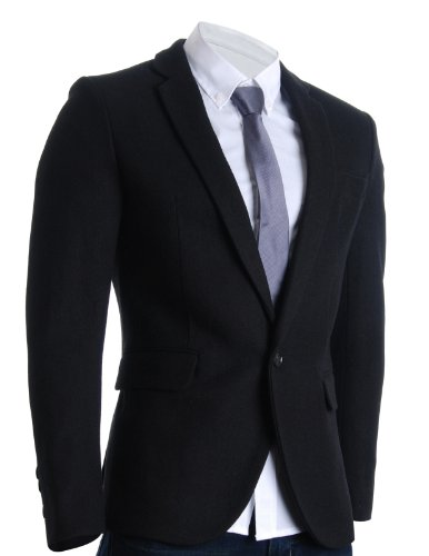 - FLATSEVEN Mens Slim Casual Winter Wool Blends Blazer Jacket (BJ106) Black, US XS/Asia M