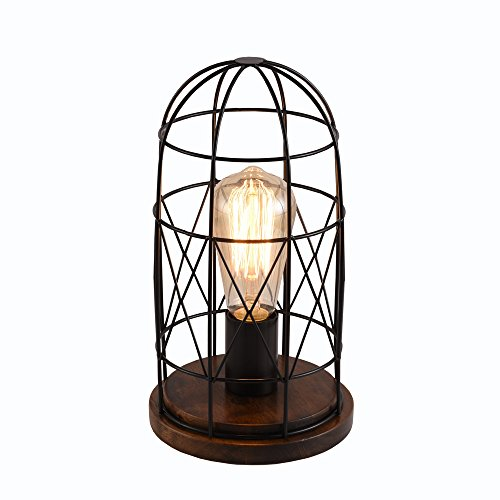 Surpars House Wood Retro Table Lamp Metal Shade Edison Bulb Included Warm White -