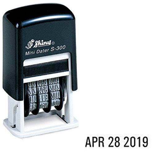 Shiny Self-Inking Rubber Date Stamp - S-300 - BLACK INK (42510-K) (Date Rubber Stamp)
