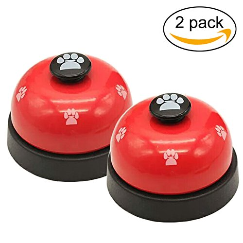 (Malier 2 Pack Pet Training Bells, Dog Footprints Bells for Potty Training and Communication Device, Stainless, Red)