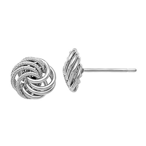 Leslie's 10K White Gold Polished and Textured Love Knot Post Earrings