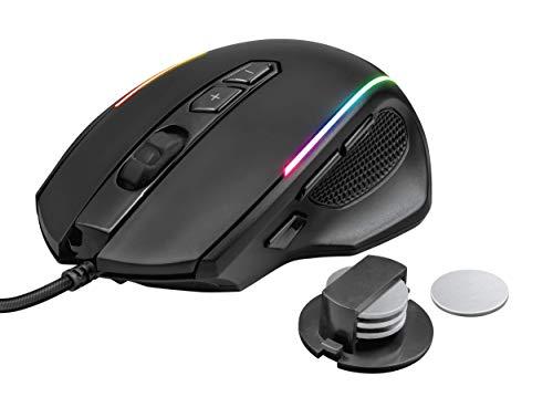 Trust Gaming GXT 165 Celox - Ratón gaming RGB de alta precisión con 8 botones programables y altura regulable, Color Negro, 4.3 x 8.3 x 12.7 cm