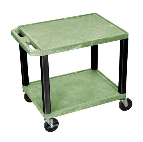 H.Wilson WT26G-B Tuffy AV Cart Green 2 Shelves Black Legs by H Wilson