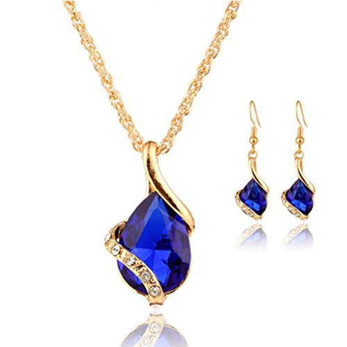 Perman Wedding Jewelry Set, Water Drops Shape Crystal Pendant Necklace + 1 pair Earrings, Cheap Stuff