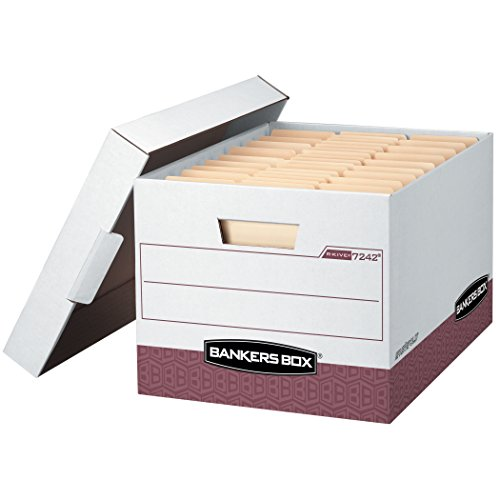 Fellowes Corrugated Box - Bankers Box R-KIVE Heavy-Duty Storage Boxes, FastFold, Lift-Off Lid, Letter/Legal, Case of 12 (07242)