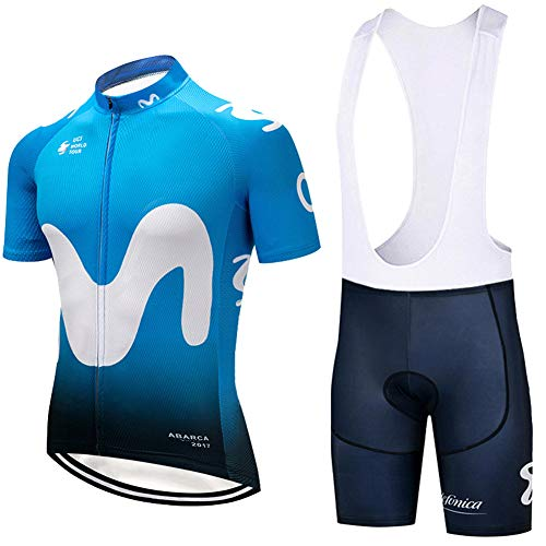 (TRENTON Unisex Cycling Clothes Set Quick-Dry Breathable Short Sleeve Jersey Shorts for Outdoor Sports Blue)