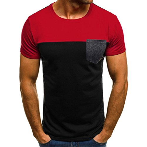 (Teresamoon Big Men Muscle T-Shirt Slim Fit Patchwork Blouse with Pocket (Red, L))