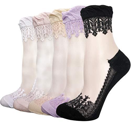Thin Lace Socks Transparent Sheer Women Fishnet Stockings Cityelf Silk Polka Vertical Stripe Pantyhose 4 or 5 Pairs