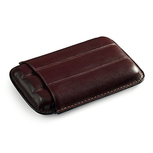 (Egoist Cigar Case in Premium Leather for 3 Cigars, Cigar Accessories, Outdoor Smokers - Robusto (Brown))