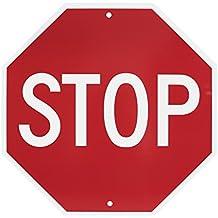 "NMC TM34R Traffic Sign,""STOP"", 18"" Width x 18"" Height, Rigid Plastic, White on Red"