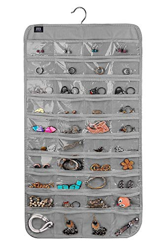 BB Brotrade Hanging Jewelry Organizer,Accessories Organizer,80 Pocket Organizer for Holding Jewelries (Grey) ()