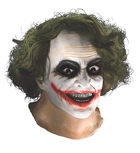 Batman The Dark Knight Adult Joker Latex Mask With Hair, Adult One Size -