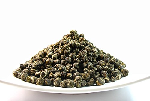 Pearl Jasmine Tea, Delicately-processed dragon pearl tea that is made from tender buds and tea leaves (Pearl Jasmine Green Tea 4 OZ)