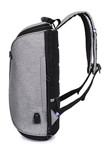 Geschäfts-USB-ladender Rucksack 360 Grad öffnen Rucksack-wasserdichte Computer-Tasche,Red Grey