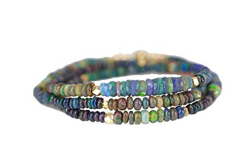 Ombre Black Opal 3 strand Wrap Bracelet Ethiopian Black Opal Gemstone Necklace - 20