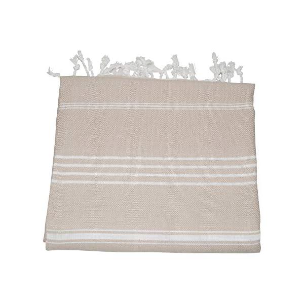 SCN Premium Telo da sauna Pestemal, telo mare 100 x 180 cm (Bosporus), 100% cotone turco Oeko-TEX® 100 Beige 2 spesavip