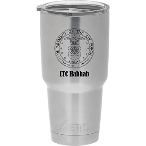 YETI Rambler Laser Engraved with US Air Force seal. Choose from YETI Water Bottle, Mug, or Colster by DoGood Designs
