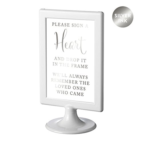 Andaz Press Framed Wedding Party Signs, Metallic Silver Ink, 4x6-inch, Please Sign a Heart and Drop It In the Frame, We'll Always Remember the Loved Ones Who Came, 1-Pack, Colored (Silver Colored Heart)