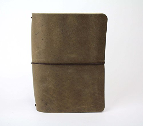 Quill Square (Sage Green Rustic Leather Travelers Notebook B6 Leather Quill Shoppe)