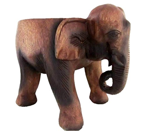 Blue Orchid Elephant Wood Carving Decorative Foot Stool Small Plant Stand 11 Inches