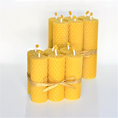 Pillar Beeswax Candle (100% Beeswax Pillar Candles 2 Sets: Set of 6 Size 5.11 x 1.18 in (13 x 3 cm) And Set of 6 3.34 x 1.18 inch ( 8.5 x 3 cm ) Eco Candles Hand Rolled Natural and Lovely Honey Scent 100% Handmade)