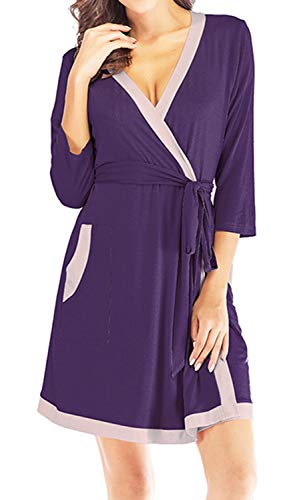 (ANCHOVY Women Modal Bathrobe V Neck Sleepwear Loungewear P08 (Purple, XL))