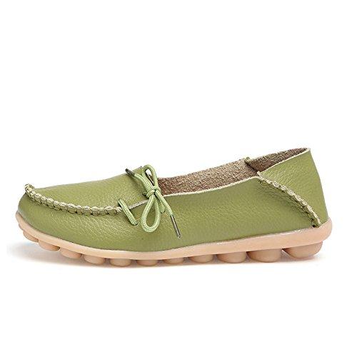 Blivener Femmes Chaussures Plates Décontractées Peau De Vache Mocassins À Lacets Chaussons Anti-dérapant Herbe Verte