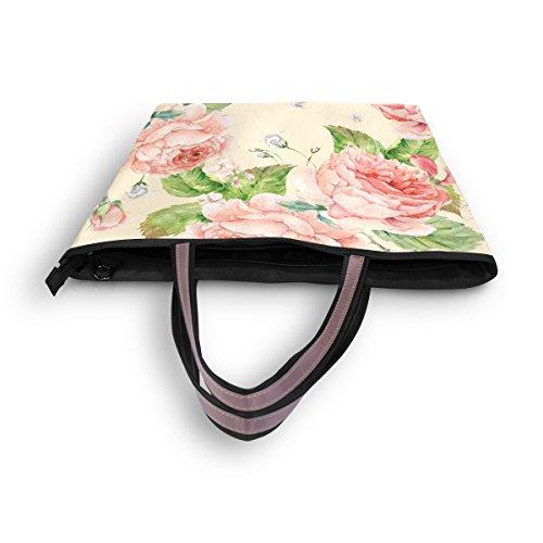 Alaza tout À Aquarelle Rose Sac Fleur Fourre Main Grand Épaule g7gxqpfUw