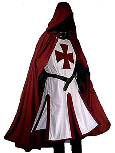 ANTIQUECOLLECTION Medieval Templar Knight Crusader Surcoat & Cloak Reenactment LARP (Templar Cloak)