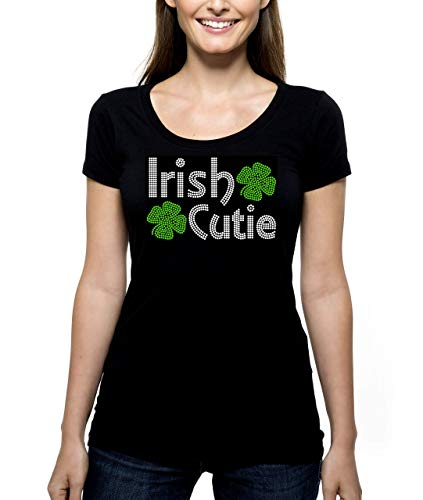 Irish Cutie RHINESTONE T-Shirt Shirt Tee Bling - St Saint St. Patrick's Day Cute Shamrocks Shamrock Green Party Girl Lass Lassie - Pick Shirt Style - Scoop Neck V-Neck Crew (Cutie Rhinestone)