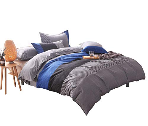 YOUSA 3-Piece Striped Bedding Set Fashion Men's Boys Bedding Duvet Cover Sets Blue Full by YOUSA