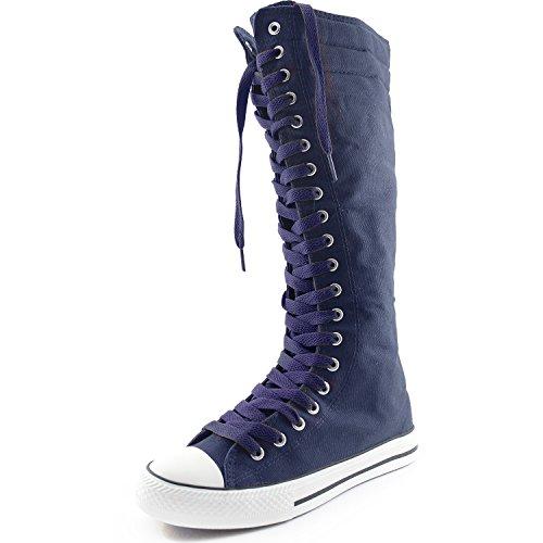 Dailyshoes Womens Canvas Mid Kalf Lange Laarzen Casual Sneaker Punk Flat, Marineblauw Marineblauwe Laarzen, Marineblauw Kant