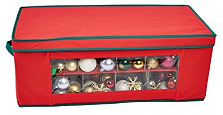 storeasy 36 compartment red christmas bauble ornament decorations storage box organiser case
