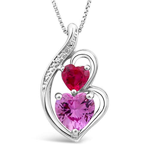 (Sterling Silver Lab Created Ruby and Pink Sapphire Heart Necklace with Diamond Accent - 18 Inch Box Chain)