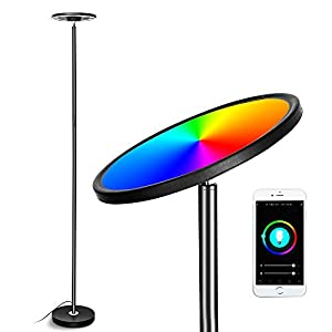 Smart WiFi Floor Lamp, Works with Alexa Echo and Google Home, CFGROW Super Bright LED Torchiere Floor Lamps for Living Room Bedroom Office - Indoor Modern Dimmable Standing Light for Reading, Black Lamps and Shades