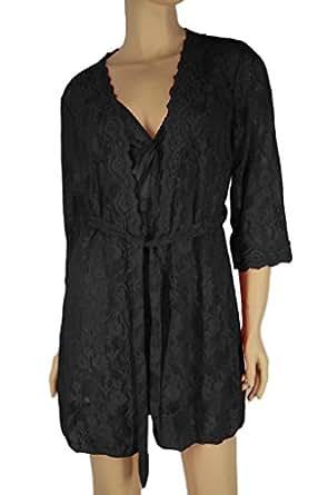 Alivila.Y Fashion Sexy Lace Lingerie Sleepwear Sleep Dress Set With G-String 402-Black Robe-One Size